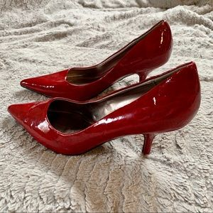 Call it Spring Red Faux Patent Pointed Heels 8